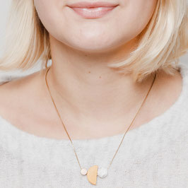 WOODEN Necklace short asymmetrical Shapes