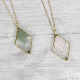 GEMSTONE Necklace long Rhombus Diamond & Gem