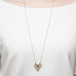 NECKLACE long geometric Heart lasered