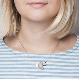 WOODEN Necklace short asymmetrical Mix