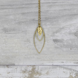 NECKLACE long Lotus Marquise hammered