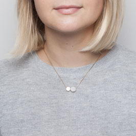 GEMSTONE Necklace short Circle Brass & Coin Gem