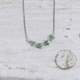 NECKLACE short silver Aventurine & Nuggest