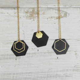 NECKLACE long Hexagon Black & Gold