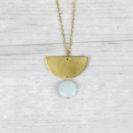 GEMSTONE Necklace long Semi Circle