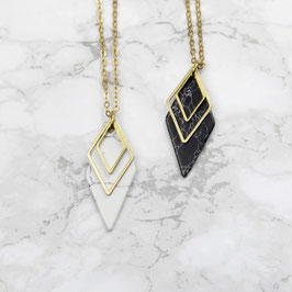 NECKLACE long Diamond Rhombus Marble white or black