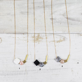 GEMSTONE Necklace long asymmetrical Shapes