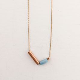 COPPER Necklace long Beads & Tubes