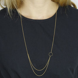 NECKLACE long geometric Shapes & layered Chains