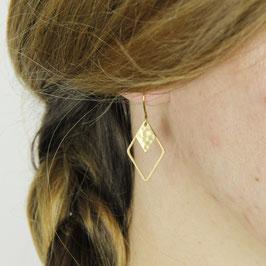 EARRINGS Diamond Rhombus hammered