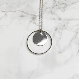 NECKLACE long silver Circle in Circle