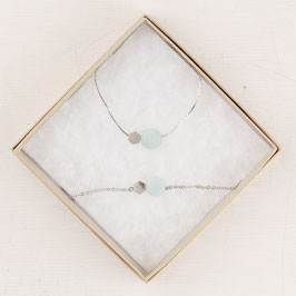 GIFT SET Gemstone and Circle Bracelet & Necklace silver