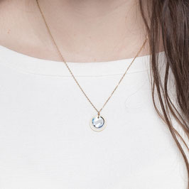 NECKLACE short marbled Circle bluish
