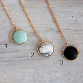 GEMSTONE Necklace long Circle & Gemstone Coin