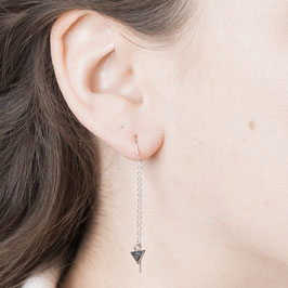 THREAD Earring Marble Triangle silver