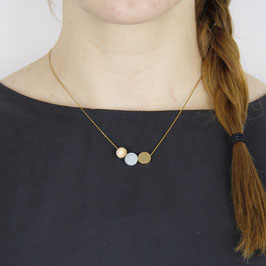 WOODEN Necklace short Brass, Wood & Gem Circles