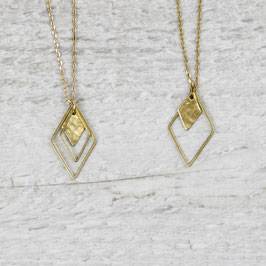 NECKLACE long Rhombus Diamond hammered