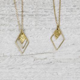 NECKLACE Rhombus Diamond hammered