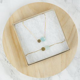 GIFT SET Gemstone and Circle Necklace & Bracelet