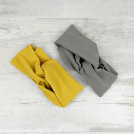 HEADBAND Turban Grey & Mustard
