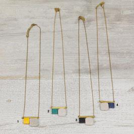WOODEN Necklace short Gemstone & Squares