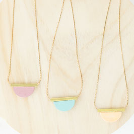 WOODEN Necklace long Tube & Semi Circle