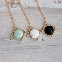 GEMSTONE Necklace long Square & Gemstone Coin