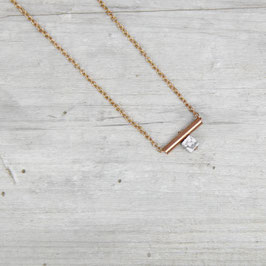 COPPER Necklace short Tube & Howlite Coin