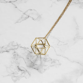 NECKLACE long geometric Cube 3D