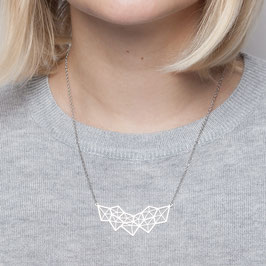 NECKLACE short silver geometric Polygon