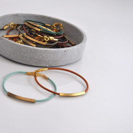 LEATHER Bracelet Brass Tube