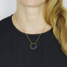 GEMSTONE Necklace short Half Circle Onyx