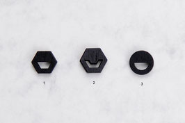 WOODEN Studs geometric Shapes Black