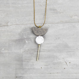 WOODEN Necklace long Semi Circle & Howlite