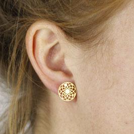 STUDS Mandala Circle lasered silver or gold