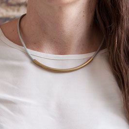 LEATHER Necklace short Tube Brass