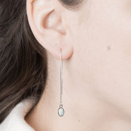 THREAD Earring silver with Opal bluish
