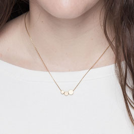 NECKLACE short Three Circles asymmetrical