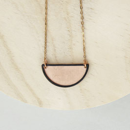 COPPER Necklace short Semi Circle Copper & Black