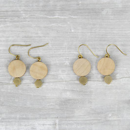 WOODEN Earring Circle & Brass Shape