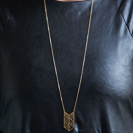 NECKLACE long geometric Chevron lasered