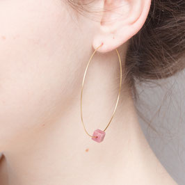 EARRING Creole Gem Cube big