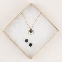 GIFT SET Heagon Marble Necklace & Hexagon Studs