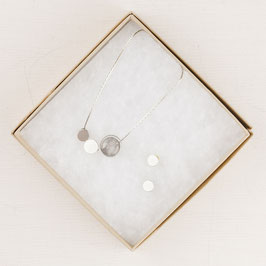 GIFT SET Necklace Circle Gems & Studs silver