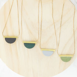 WOODEN Necklace short Semi Circle & Tube