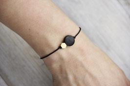 WOODEN Bracelet Black Circle & Brass Shape