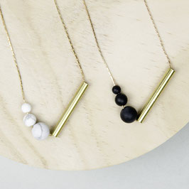 GEMSTONE Necklace long Tube & matt Beads asymmetrical