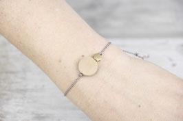 WOODEN Bracelet Wood & Brass Hexagon on Silk