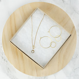 GIFT SET open Circles Necklace & Creole Earrings
