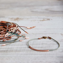 LEATHER Bracelet Copper Tube